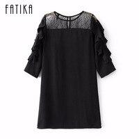 FATIKA Women New Fashion Sexy Lace Half Sleeve Dress Ladies O Neck Mesh Mini Casual Black