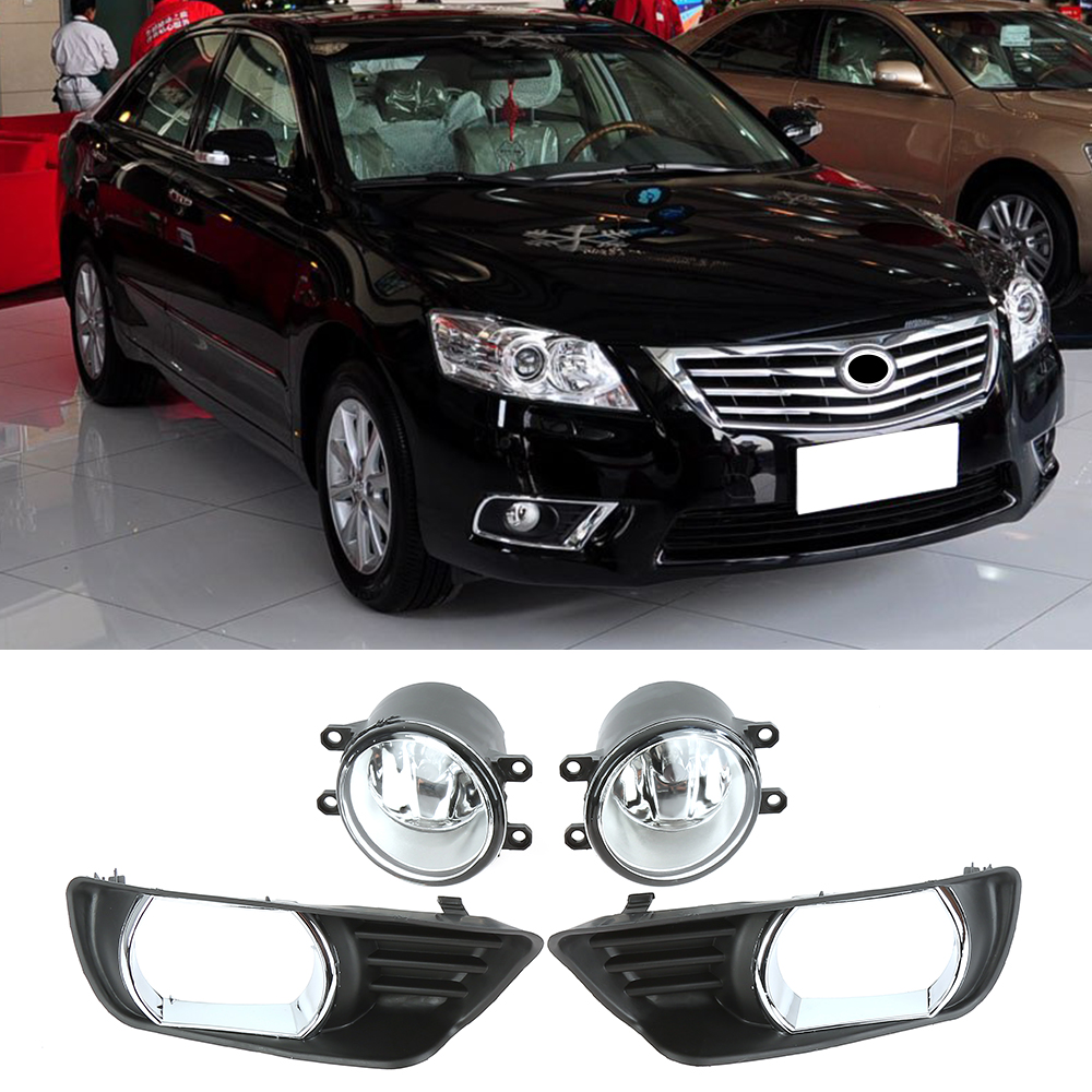 Fog light case for Toyota Camry H11 Bulb for 2007 2008 2009 Clear Front Driving Lamps +Wiring Kit PAIR Quality Light 1set front chrome housing clear lens driving bumper fog light lamp grille cover switch line kit for 2007 2009 toyota camry