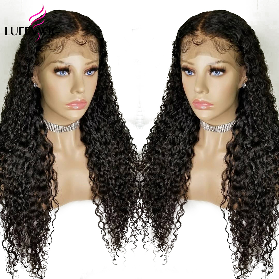 LUFFYHAIR Remy Hair Curly 13X6 Lace Front Wig Mongolian Human Hair 250 High Density Pre Plucked