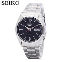 Seiko 5 Automático Negro Dial Acero Inoxidable Reloj de Los Hombres de Japón hizo SNKF01J1