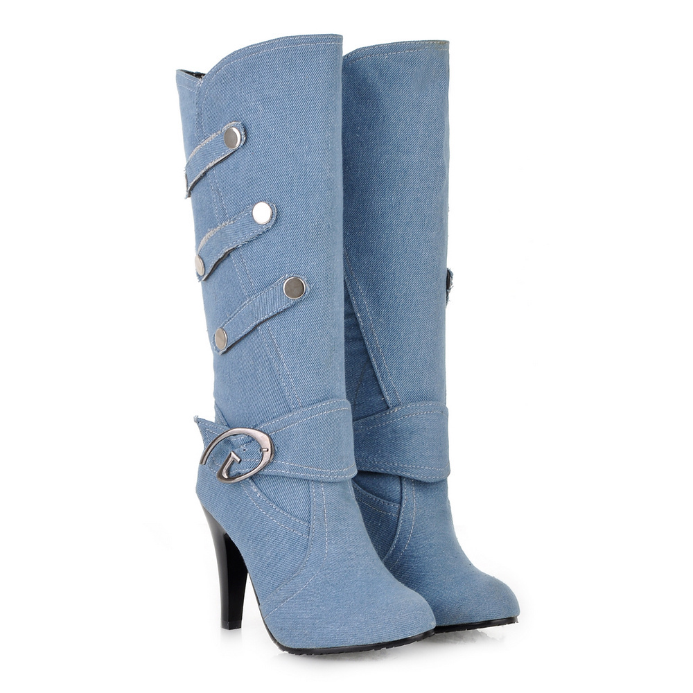 Comfortable Denim Black Light Blue Women Half Knee Mid