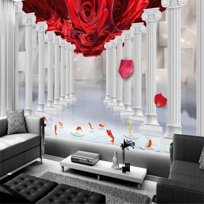 Personality Custom Wallpaper 3D Stereoscopic Rose Photo Wall Mural Stone Pillar Wallpapers Wall Paper for Living Room Home Decor custom 3d photo wallpaper underwater world stereoscopic living room bedroom decor wallpapers modern painting mural de parede 3d