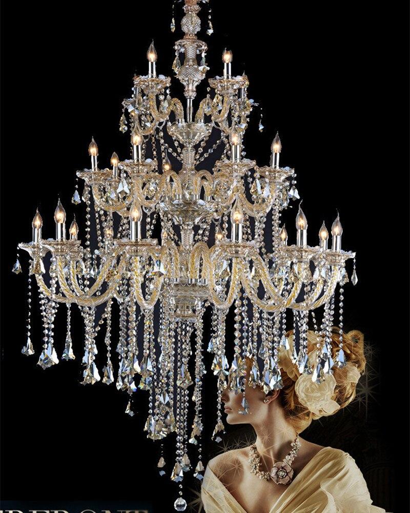Antico Grande cystal cognac lampadario attico Progetto-layer 24 arms Hotel illuminazione del Professionista Led lampadario lustri