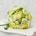Nova Chegada De Flores de Seda Peônia Bouquet de Casamento com Fita Verde/Rosa/Red buque de noiva Moda Nupcial Handmade acessórios