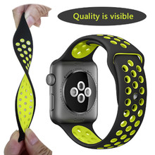 купить 50pcs Top Quality Soft Silicone Replacement Sports watch Band For Apple Watch Series1 2 3 4 38mm 42mm Wrist Bracelet Watch Strap по цене 9899.72 рублей