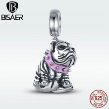 BISAER Hot Sale Authentic 925 Sterling Silver Dog Doggy Charme Inglês Bulldog Charme Beads fit Menina Charm Bracelet Jóias GXC552(China)