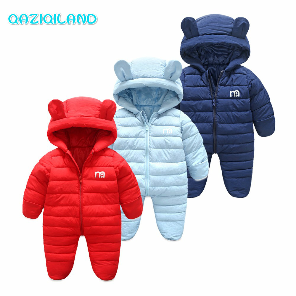 купить 2018 New Baby Clothes Russian Winter Hooded Baby Rompers Solid Warm Boys Snowsuit Newborn Jumpsuit For Children Baby Costume недорого
