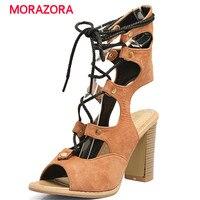 MORAZORA Large size 34-48 sandali gladiatore scarpe donna tacchi alti scarpe retro fashion romano scarpe estate PU morbido cuoio