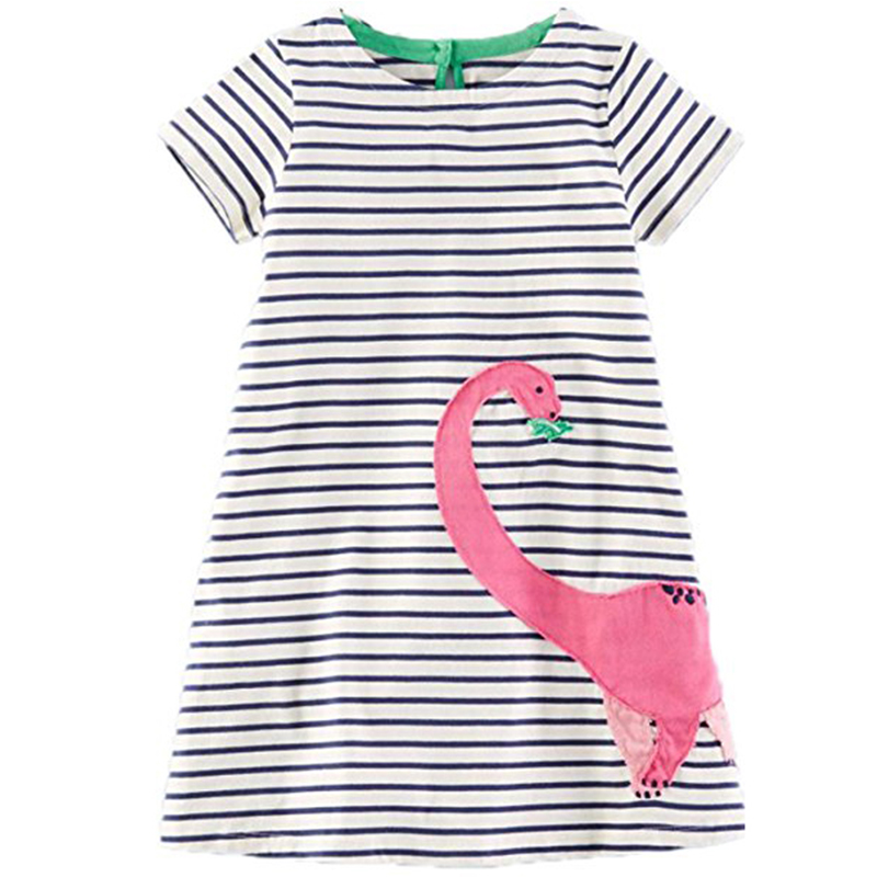 Baby Girl Dress Summer O-neck Sleeve Animals Applique Girls Princess Dresses Kids Clothing Cotton Children Costume Girls Dress summer 2017 new girl dress baby princess dresses flower girls dresses for party and wedding kids children clothing 4 6 8 10 year