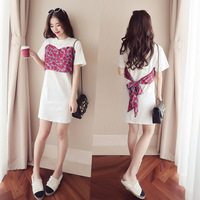 2018 Korean New Sweet Bow Long T Shirt Girl Slim Floral Stitching Bow Dress S M