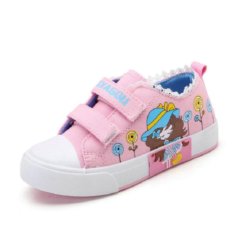 Дитяче взуття дівчаток тапки 2017 Новий весна осені Цукерки колір мереживо Up Дитяче полотно взуття Хлопчики Високий Білий Діти взуття для дівчаток