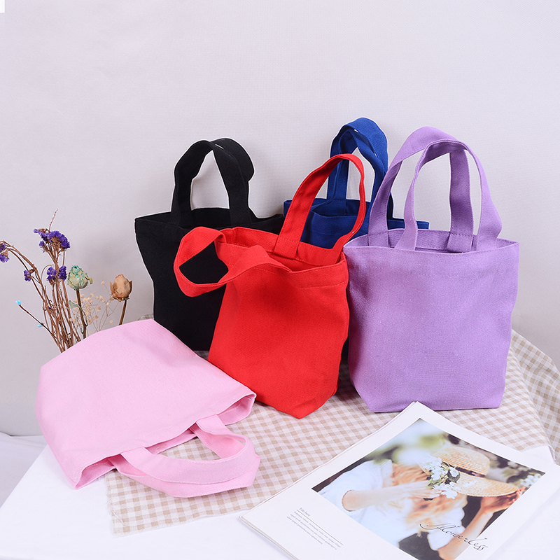 1 Pc Solid Color Portable Lunch Bag Picnic Pouch Storage Tote Canvas Handbag Shopping Bag Women Girl