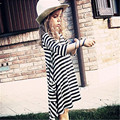 Baby Girls Clothes Dresses Spring Summer Black Striped 100cm Cotton Three Quarter Sleeve Kids Clothing Size 2 3 4 5 6 7 Years