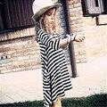 Bebé Ropa de Las Muchachas Vestidos de Primavera Verano de Rayas Negro 100 cm Algodón Tres Manga del cuarto de Ropa de Niños Tamaño 2 3 4 5 6 7 años