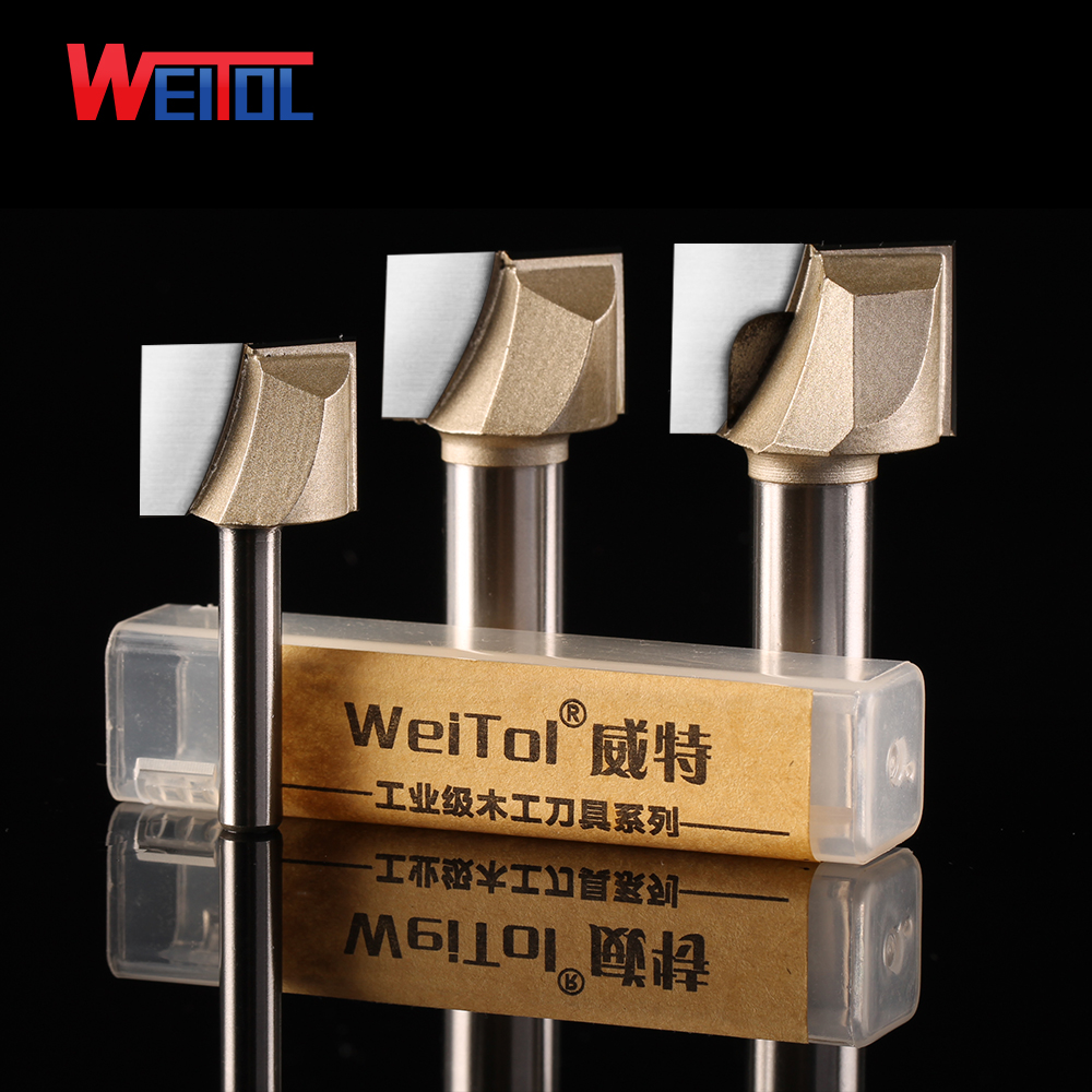 Weitol 1pcs 1/4 or 1/2 inch cleaning bottom bit woodworking tools CNC engraving bits router bit wood tools 1 2 5 8 round nose bit for wood slotting milling cutters woodworking router bits