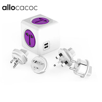 Allocacoc PowerCube Smart Socket EU/US / UK / AU Plugs 4 Outlets Dual 2 USB Ports Adapter Universal Socket Plug For Travel life