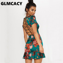 0f11c30ffa85a GLMCACY Women Green Criss Cross Shift Dress Short Sleeve Above Knee Mini  Party Dress