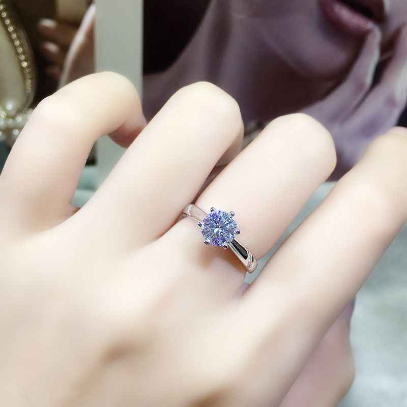90% OFF! Original Pure 925 Solid Silver Wedding Rings for Women Bride Gift Jewelry Solitaire 1 Carat CZ Diamant Fine Rings HR363