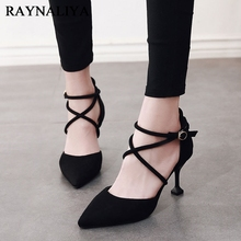 купить 2018 Summer Fashion Mary Jane High Heel Shoes Suede Flock Strange Heel Pumps Ladies Pointed Toe Shoe Woman CH-A0082 по цене 1847.89 рублей
