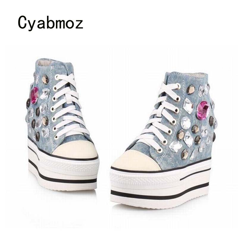 Cyabmoz Fashion Women Shoes Platform High Heels Wedge Woman Denim Rhinestone Casual Shoes Zapatillas Deportivas Zapatos Mujer цена и фото