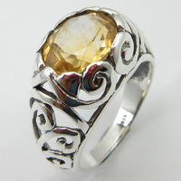 Pure Silver Faceted Citrines Ring Sz 7.75 Gems Jewelry Unique Designed
