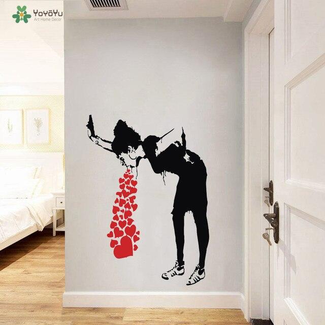 yoyoyu wall decal girl and hearts vinyl sticker banksy street