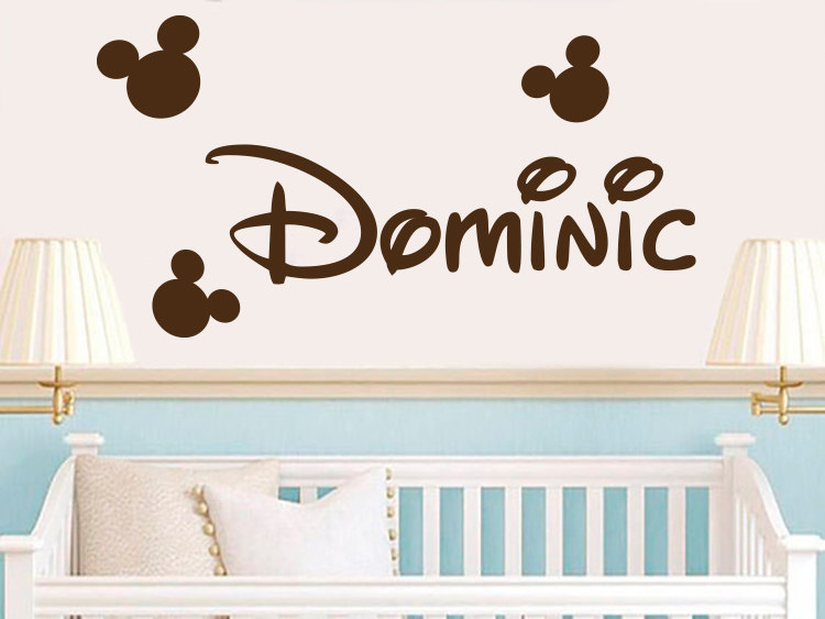 Personalized Name Mickey Mouse Wall Decal Sticker Mickey Head Name Kids  Nursery Room Wall Sticker Art Vinyl Mural M 113
