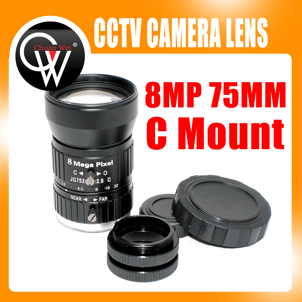 где купить 10pcs/lot HD 75mm CCTV C Mount Lens Manual Iris Manual Focus 1:2.8 Aperture 1