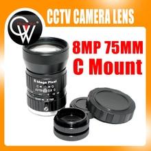 10pcs/lot HD 75mm CCTV C Mount Lens Manual Iris Manual Focus 1:2.8 Aperture 1″ Image Format Industrial Security Camera Lens