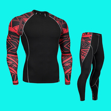 Rashgard male Thermal Underwear Thermal Shirt Thermal Pants 2 Piece tracksuit Men Fitness Wicking Quick drying