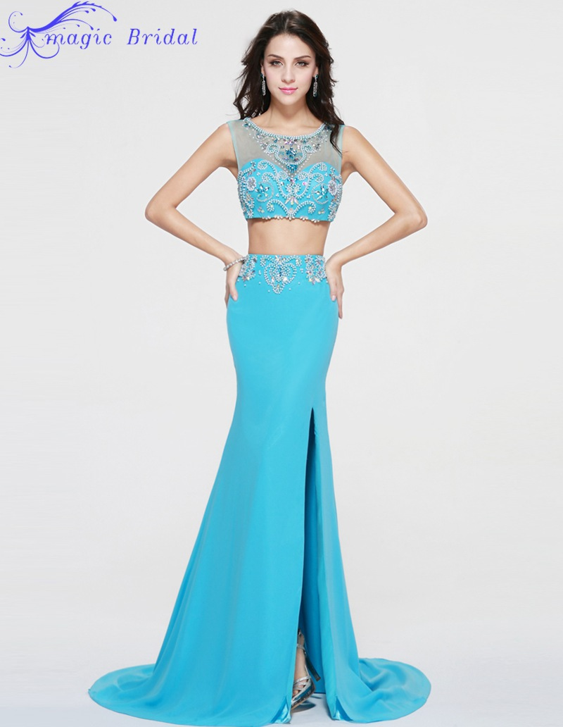 Vestido De Festa Longo Azul Sexy Blue Beaded Mermaid Prom Dress ...