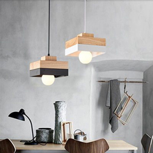 Modern LED Pendant Lights Round/Square Wooden Lamp Cafe Bar Restaurant Bedroom Bedside Decoration Hanging Luminaire