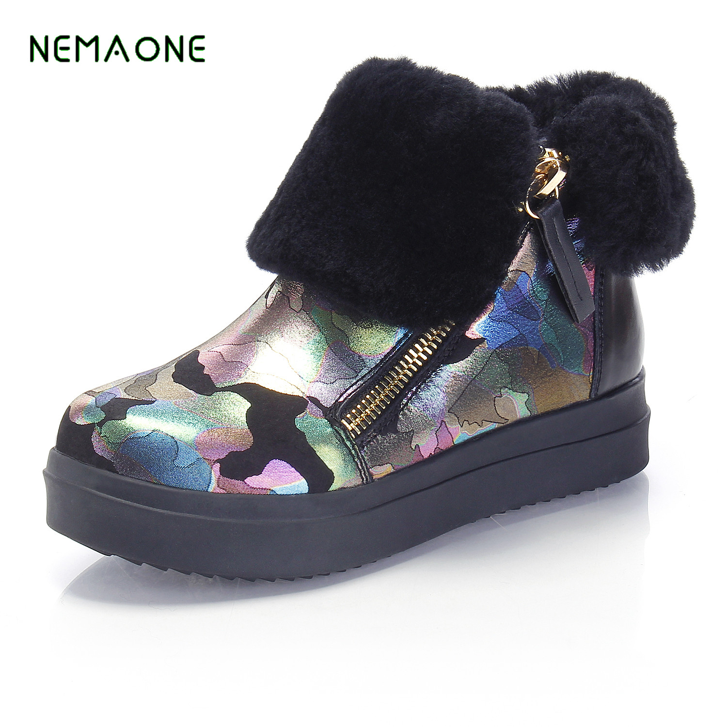 NEMAONE 2017 New Winter Women Snow Boots Ankle Shoes Handmade Plush Shoes Warm Boots Tassel Shoes