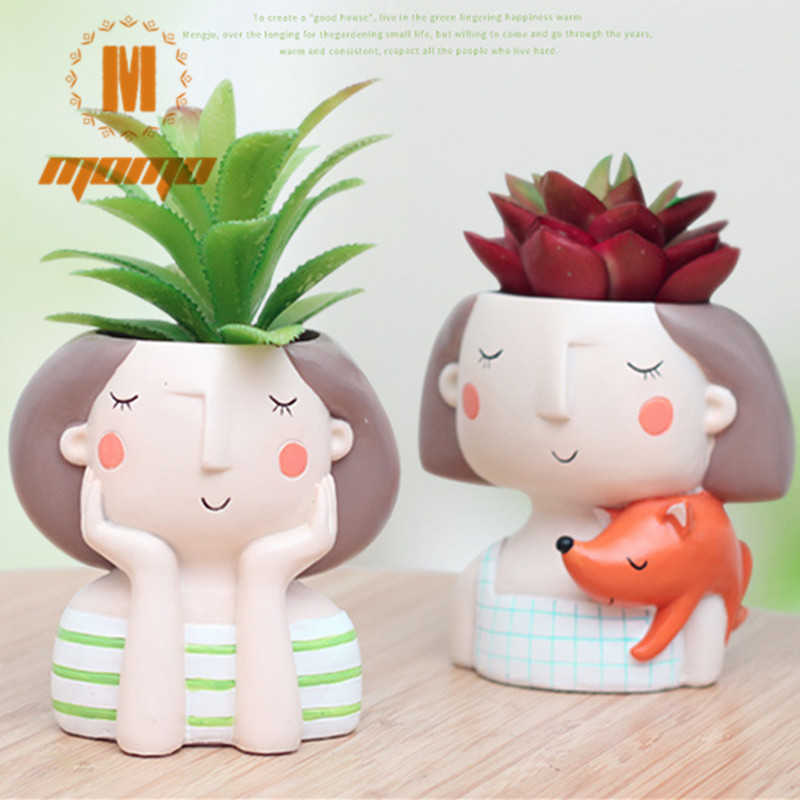 MOMO 4item Succulent Plant Pot Cute Girl Flower Planter Flowerpot Creat Design Home Garden Bonsai Pots Birthday Gift Ideas