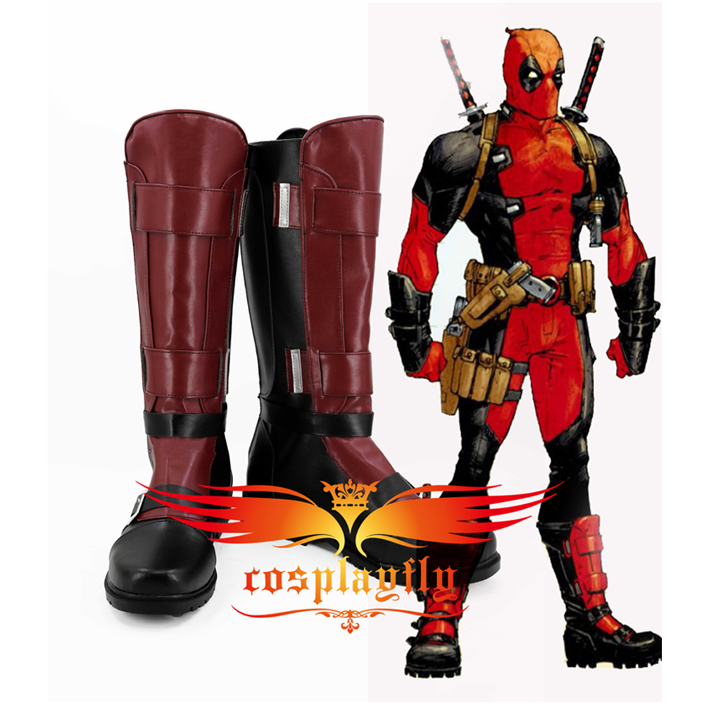 Comics Version X-Men Deadpool Battleframe Cosplay Boots Shoes Custom Made Halloween For Adult Party Cos 3150