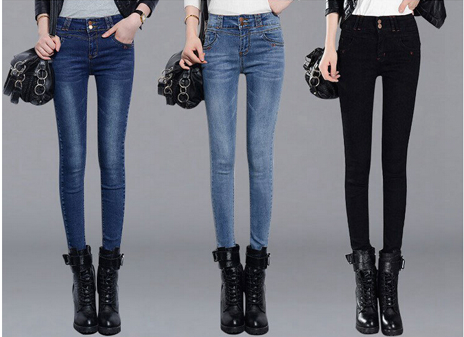 Jeans woman 2017 spring new black jeans women high waist trousers elastic tights pants feet pants