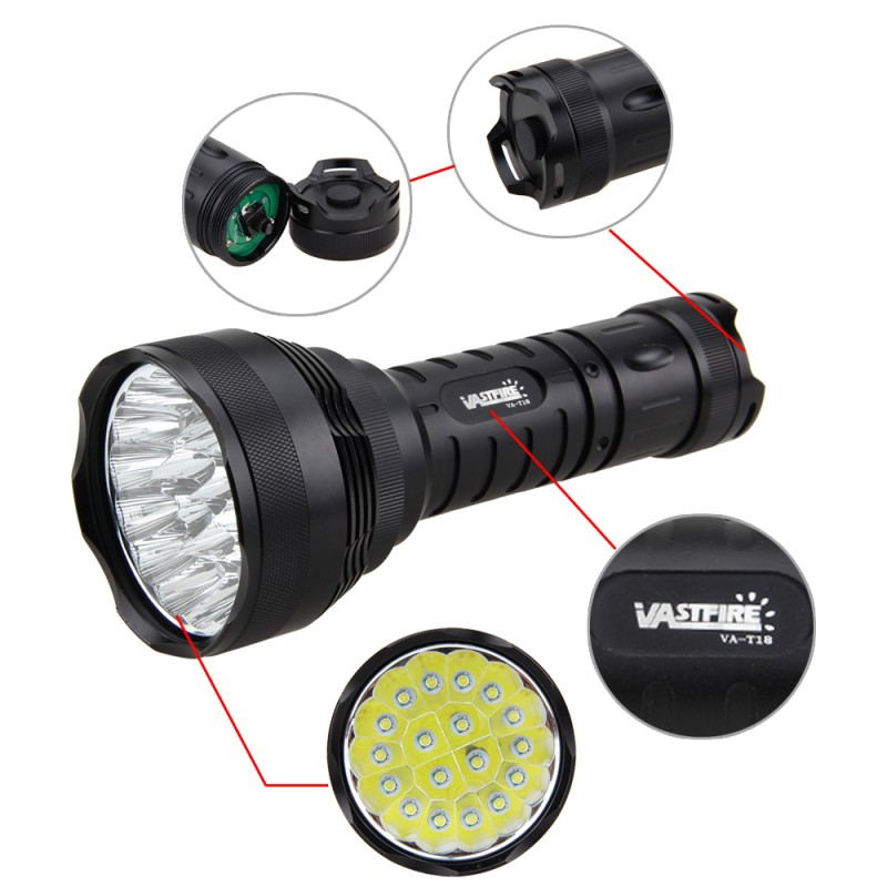 Tactical Flashlight Torch Military 50000LM 18x XM-L T6 LED Lamp Hunting 5Modes With Charger 6x18650 Battery 3800 lumens cree xm l t6 5 modes led tactical flashlight torch waterproof lamp torch hunting flash light lantern for camping z93