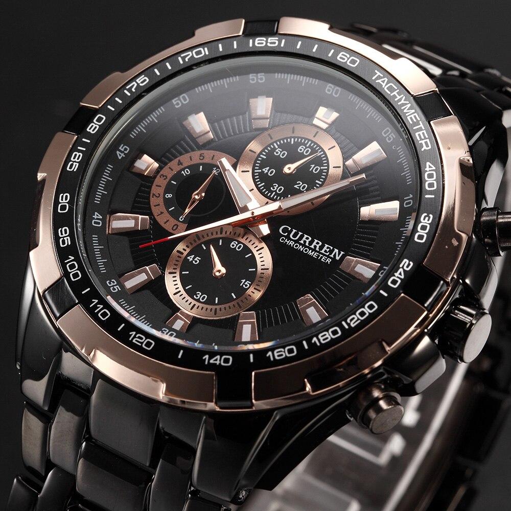 2016 CURREN Tag Marke Mode Männer Sport Analog Uhren herren Quarzuhr Männlichen Casual Komplett Aus Edelstahl Military Handgelenk uhr