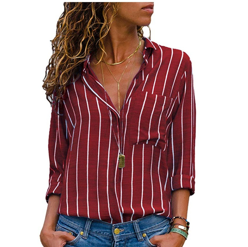 Mujer Striped Black Striped Striped green Plus gray De Blusas 4xl Camisa Larga yellow blue 2018 5xl Striped Moda A Cuello Rayas Tamaño Blusa Grandes Sizes Striped Manga red Striped TRxAAESwUq