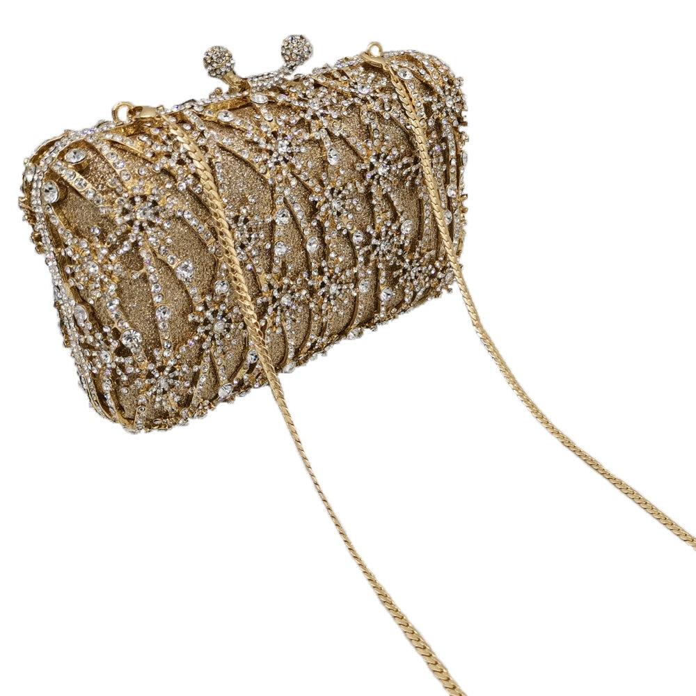 Image 5 - Boutique De FGG Hollow Out Flower Clutch Minaudiere Bag Women  Crystal Evening Bags Wedding Party Dinner Floral Handbags  PursesTop-Handle Bags