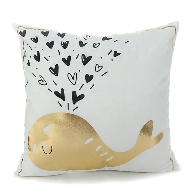 Golden Sea Print Cushion Cover 5