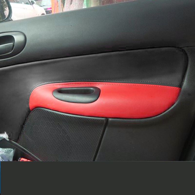 4PCS/SET Door Plate Decorated Leather Protective Cover For  Peugeot 206 207 /Citroen C2 Z2EA1026