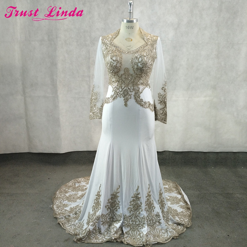Real Photos 2018 Mother Of The Bride Dresses Mermaid Floor-length Brides Party Dress Gold Lace Appliques Beaded Prom Gowns