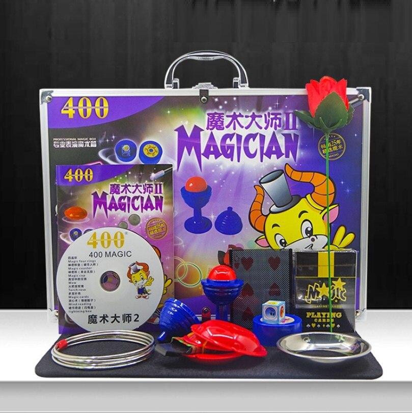 1 ensemble boîte magique en alliage d'aluminium boîte cadeau magique jouet éducatif ensemble avec divers accessoires tour de magie YH1835