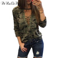 DeRuiLaDy Women Long Sleeve T Shirt Camouflage Print Fashion V Neck Piquant T Shirts Womens Army