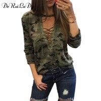 DeRuiLaDy Women Long Sleeve T Shirt Camouflage Print Fashion V Neck Piquant T Shirts Womens Army