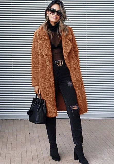 NiceMix 2019 plum-size autumn and winter lapel pocket long-sleeved blouse stylish slim and warm long-sleeved blouse ladies thick