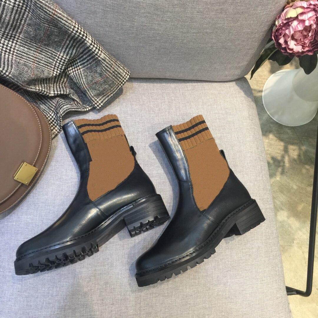 รองเท้าสตรีรองเท้าหนังแท้สำหรับฤดูใบไม้ร่วงฤดูใบไม้ร่วงผู้หญิงฤดูใบไม้ผลิรองเท้ารอบ Toe รองเท้ากันน้ำแฟชั่นสาวรองเท้า-ใน รองเท้าบู๊ทครึ่งน่อง จาก รองเท้า บน   1