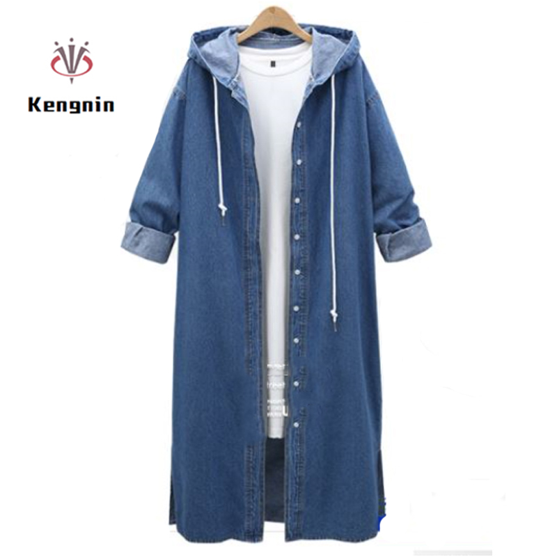 2019 Autumn Winter Oversize 4XL Ladies Trench Coats Hooded Long Sleeve Jean Outerwear X Long Single