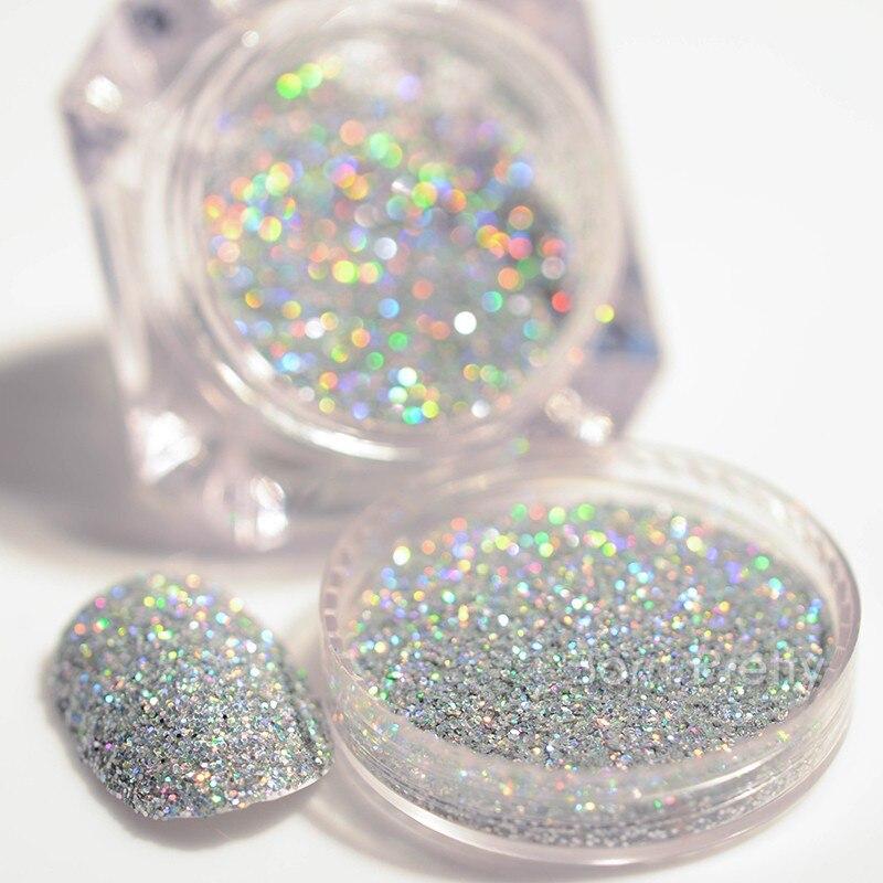 2G 1 Caixa Preta Sliver Glitter Holográfico Laser Pó Lindo Jogo de Manicure Nail Art Glitter Pó Poeira Brilhante Glitter Pó pigmentos